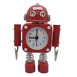 Kimwina Robot Alarm Clock Wake Up Clock with Flashing Eye and Hand Clips