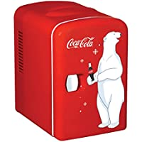 Coca-Cola KWC-4 6-Can Personal Mini 12V DC Car and 110V AC Cooler, Red