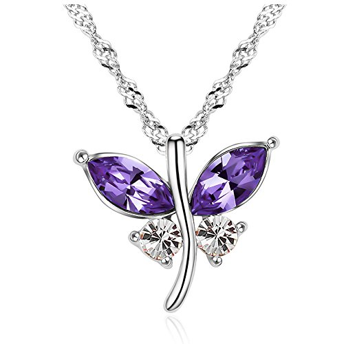 Austrian Crystal Butterfly Flower - The Starry Night Purple Austrian Crystal Flower Butterfly Dances Pendant Silver Fashion Women Necklace