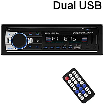 Multimedia Car Stereo – Single Din LCD, BT Audio and Calling, Built-in Microphone,FM Radio Receiver, MP3 Player, WMA, USB, Auxiliary Input, Wireless Remote Control: Home Audio & Theater
