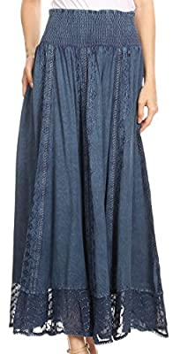Sakkas INES Womens Gypsy Maxi Bohemian Long Skirt with Elastic Smock Waist & Lace