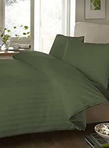 """Egyptian cotton Fitted Sheet With 20"""" Deep Pocket 650 Thread Count Stripe ( Twin , Olive ) By Bedding Spa"""