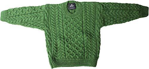 Childs Irish Merino Wool Crew Cut Sweater (Large, Kiwi Green)