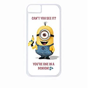 """""""Can't You See it? You're One in a Minion!""""- Hard White Plastic Snap - On Case-Apple Iphone 5C Only - Great Quality!"""