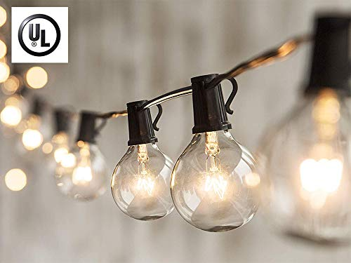 (25Ft Outdoor String Lights,G40 Patio String Lights with Clear Edison Bulbs,UL Listed Set of 25 Glass Edison String Lights Garden/Backyard Party/Wedding Indoor String Lights-Black Wire)