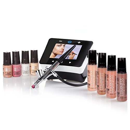 Luminess Air Epic2 Airbrush System with Deluxe 8-Piece Airbrush Foundation & Cosmetic Starter Kit, Shade Deep