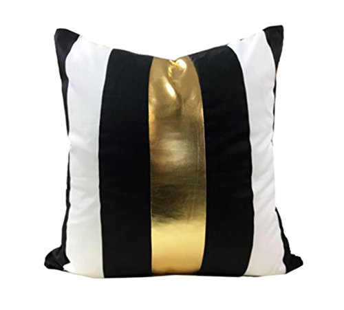 (Kdays Black Gold Stripe Pillow Cover Designer Modern Throw Pillow Cover Decorative Faux Leather Pillow Cover Handmade Cushion Cover 18x18 Inches)