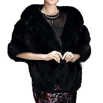 Huaqisen Women Luxury Faux Fur Coat Jackets Wrap Cape Shawl for Wedding Party (Black)