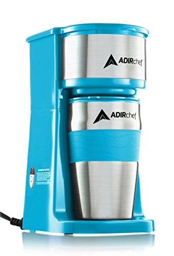 AdirChef Grab N' Go Personal Coffee Maker with 15 oz. Travel Mug (Crystal Blue)