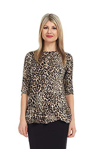 Esteez Women's Tunic Top 3/4 Sleeve Ruffle Hem Carnation Cheetah X-Large