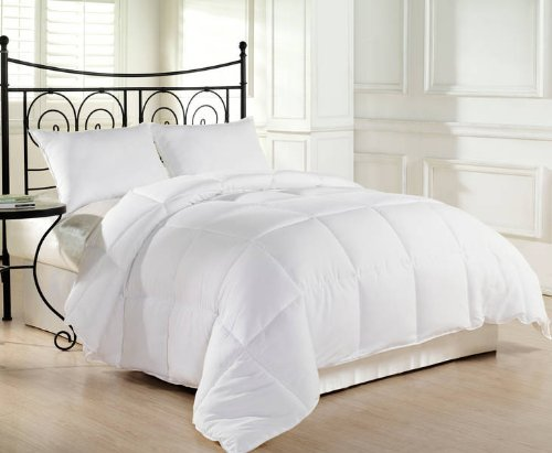 Chezmoi Collection Heavyweight Filled Goose Down Alternative Comforter, King, White