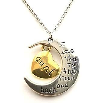 233b8bf98300 Gargantilla de plata de ley con mensaje «I Love You to the Moon and back»