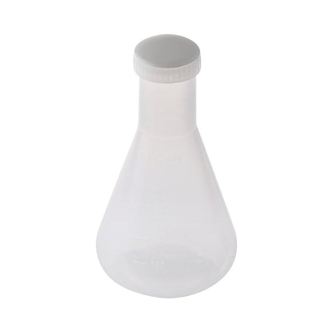 Compra 250 ml Matraz Cónico Botella de Plástico Transparente Envase con Tapa para Laboratorio en Amazon.es