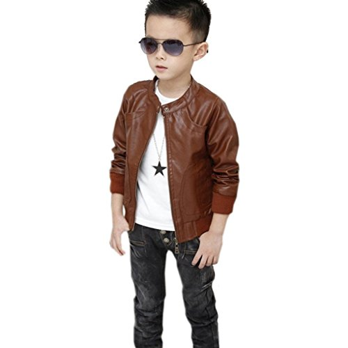 Boy's Fashion Trendy Stand-Collar PU Leather Spring Moto Jacket Outwear Coat (3-4T, Brown) (Toddler Spring Jackets)