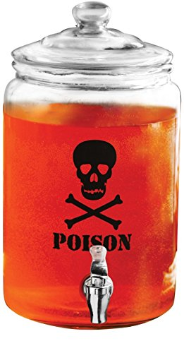 Circleware 7438 Skull Sun Tea Mason Jar Glass Beverage Dispenser, Fun Halloween Decorations Party Entertainment Glassware Drink Water Pitcher for Juice, Beer Cold Drinks, Lead-Free, 1 gal, Poison - Lighted Punch Fountain