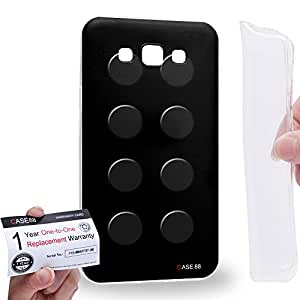 Case88 [Samsung Galaxy E7] Gel TPU Carcasa/Funda & Tarjeta de garantía - Art Fashion Black Building Blocks Art1581