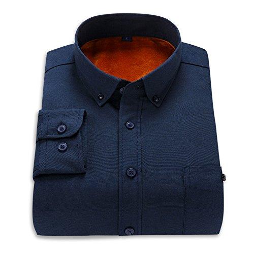 Marine D'hiver Homme Chemise Allthemen Bleu Velours Oxford Longues Textile Manches Intérieur Chaud nPIH1xB7