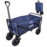 Sable Garden Cart Folding Wagon Foldable Pull Trolley, 100kg Max Load, for Outdoor/Festivals/Camping, Blue