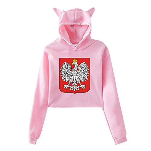 Guay National Emblem,Cat Ear Hoodie Sweater, Hooded Crop Tops, Bare Midriff Costumes Kit Womens Sexy Stylish Hoodie Sweater Girls Cute Hoodies