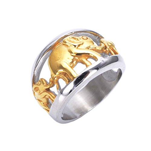 HIJONES Men's Stainless Steel Gold Plated Elephant Ring Vintage Style Size 10 - Two Elephant Tone