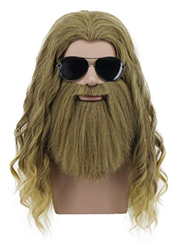 Karlery Men Long Curly Golden Brown Mustache Wig Halloween Cosplay Wig Anime Costume Party Wig