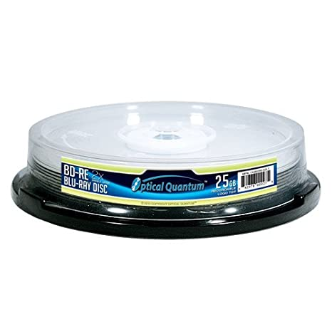 Optical Quantum OQBDRE02WIP-10 2X 25 GB BD-RE Single Layer Blu-Ray ReWritable White Inkjet 10-Disc Spindle Vinpower Digital - JVC