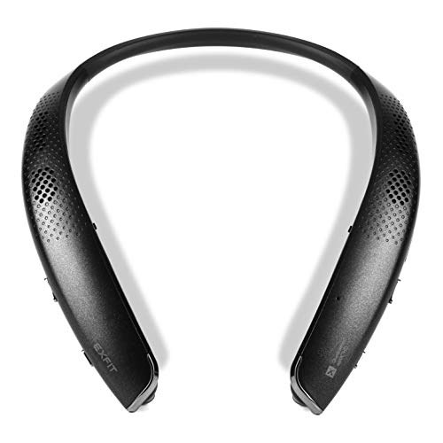 EXFIT BCS-S1000 Wireless Bluetooth Headphones, Surround Sound External Speakers, Retractable Earbuds, Siri and Google Assistant Compatible, 25 Hour Battery (Black) ()