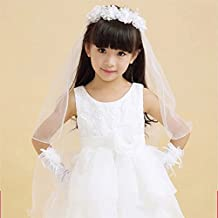 Lavendel Bridal Flower Girl Veils Two Layers White Pink Wedding Communion Hair Wreath