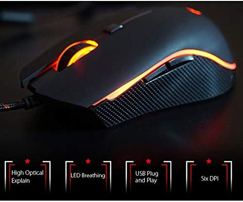 Computer Products MOTOSPEED V40 USB Wired Gaming Mouse 6 Button Optical RGB LED Lights Mouse 4000DPI Keyboard /& Mice Products