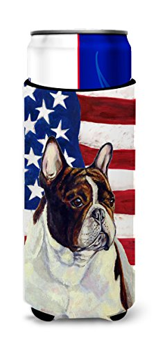 USA American Flag with French Bulldog Ultra Beverage Insulators for slim cans LH9006MUK