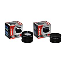 Opteka .43x High Definition Wide Angle With Macro & 2.2x Telephoto Lens Kit for Canon 35mm, 40mm, 50mm, 60mm and 135mm Lenses