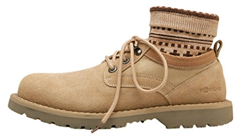 UJoowalk Men's Suede Lace Up Casual Chukka Boots With Sock - stylishcombatboots.com