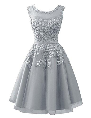 Beyonddress mit Silber Elegant Abendkleider Partykleid Damen Kurz Brautjungfernkleider Ballkleid Applikationen rqwRarEx7f