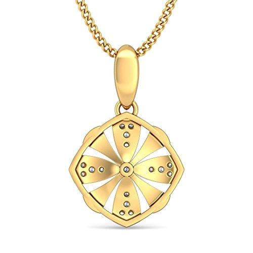 Or jaune 18K 0.11CT TW Round-cut-diamond (IJ   SI) Pendentif