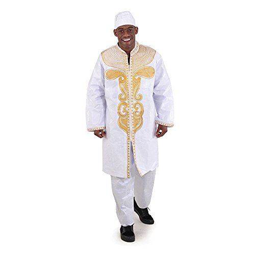 utopia africa Brocade Zipper Dashiki & Pant Set - White/Gold by utopia africa