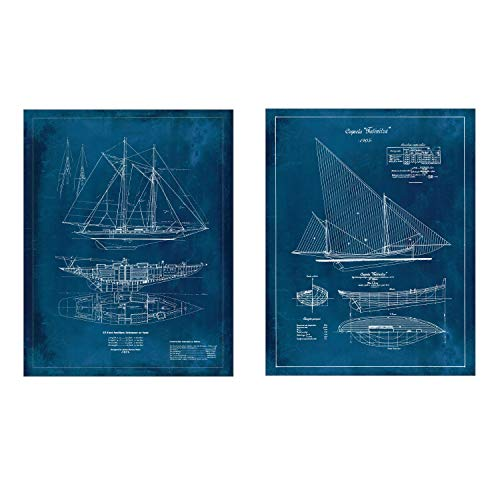 Set of 2 Vintage Boat Blueprints - Portuguese Sailboat and a Yacht - Antique Technical Drawing 8 x 10 Unframed (Set of 2)
