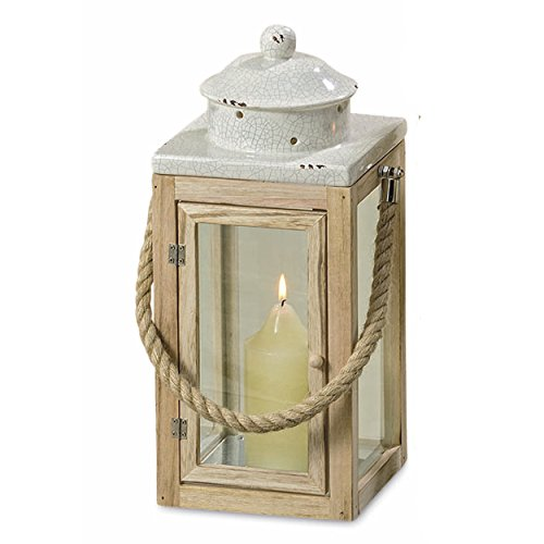 Lantern Crackle (Whole House Worlds The West Coast Chippy Crackle Rope Handled Candle Lantern Hurricane, Distressed White, Shabby Style, Ceramic, Natural Wood, Glass, Galvanized Metal, 15 ¾ H Inches, By)