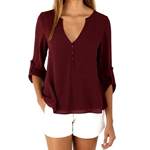 TAORE Womens Casual Chiffon T-shirt V-Neck Cuffed Button Detail Sleeve Blouse Top (XXXL, Red)