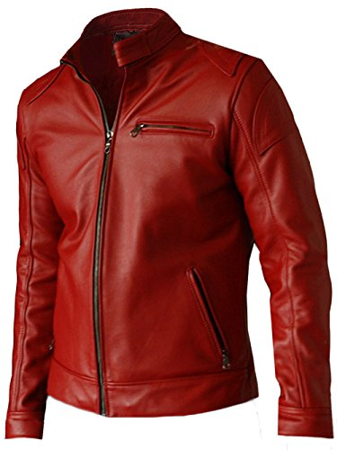 LJS Elegant Men's Moto Racer Red Leather Biker Jacket, X-Large - Mens Motorcycle Leather Biker Racer