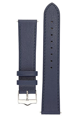 Leather Silver Blue - Signature Seasons in blue 24 mm watch band. Replacement watch strap. Genuine leather. Silver Buckle