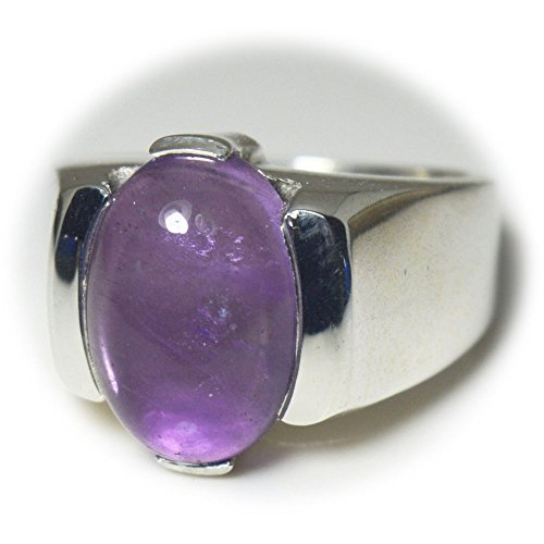 - CaratYogi Oval Cabochon Cut Bold Purple Amethyst Ring Sterling Silver Size 4-12 For Mens