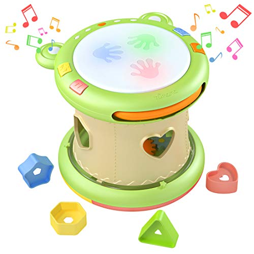 Activities Different - TUMAMA Baby Musical Activity Cube Toys for 6 9 12 18 months, Toddler Toys with 12 Music and 8 Kids Songs,Educational Toys with Hand Drum,Shape Sorter and Bead Maze for 1,2,3 Years Old Boys and Girls