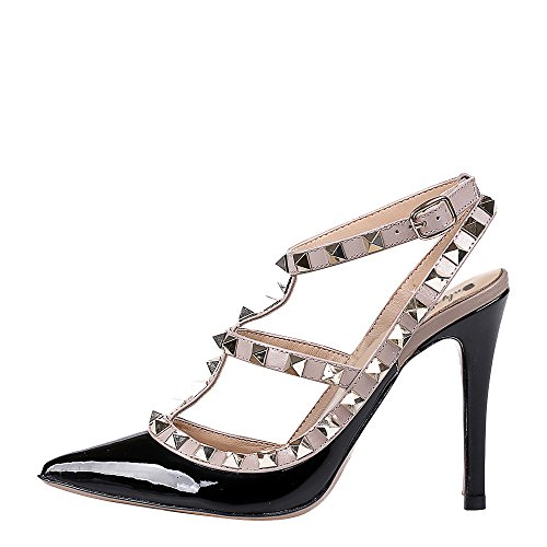 Onlymaker-Sandalias altos de moda con tachuelas para mujer negro