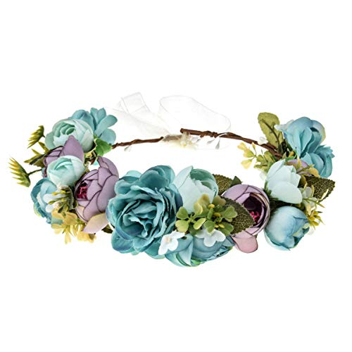 June Bloomy Women Rose Floral Crown Hair Wreath Leave Flower Headband with Adjustable Ribbon (1# Blue)