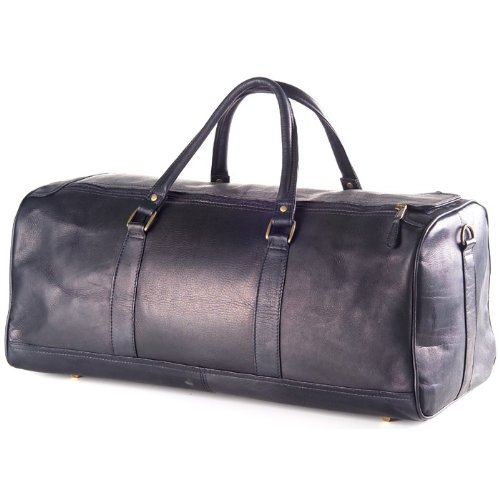(Clava Vachetta Large Leather Duffel, Gym Bag in Black)