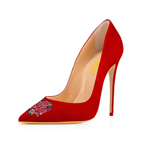 for Pumps FSJ Party Pointed Stilettos High US Size Dress Basic 15 Slip 4 Women Red 8 Heels On Toe q1gzP1