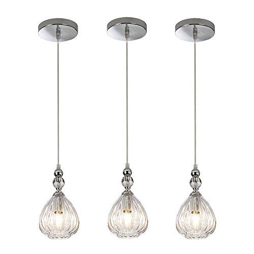 SOTTAE Modern Style Elegant Hanging Light Fixture 5.11 Inches Diameter Pendant Light, Glass Shade Ceiling Light For Living Room Bar Kitchen(Set of 3) - Place 3 Light Pendant