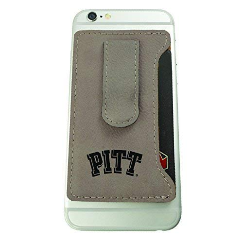 Panthers Cell - University of Pittsburgh -Leatherette Cell Phone Card Holder-Tan