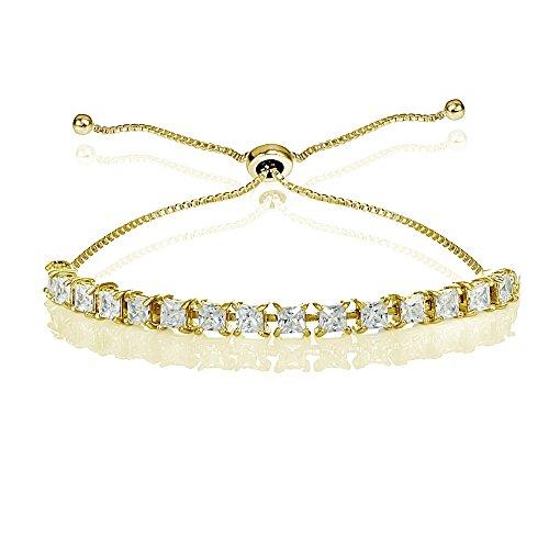 Princess Cut Line Bracelet - GemStar USA Yellow Gold Flashed Sterling Silver 3mm Cubic Zirconia Princess-cut Adjustable Bolo Tennis Bracelet