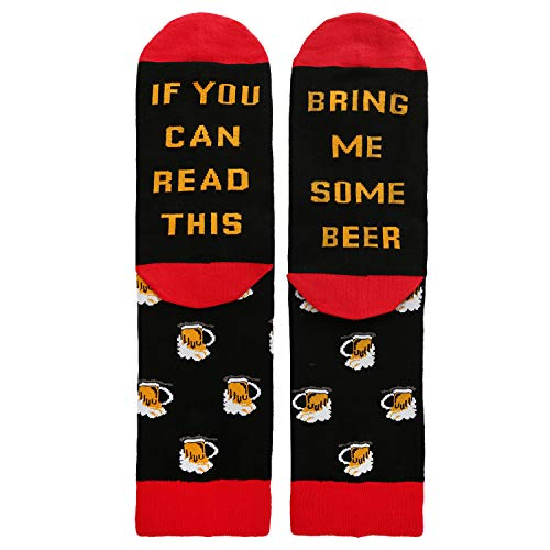 Novelty Funny Saying Crew Socks If You Can Read This Bring Me Beer Wine Coffee Taco Bacon, Gag Gift for Men Women